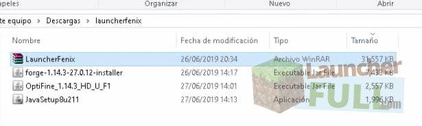 Archivos LauncherFenix en PC Windows