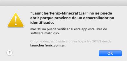launcherfenix-minecraft.jar nu poate fi deschis deoarece provine de la un dezvoltator neidentificat.