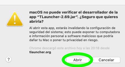 Mac OS nie może zweryfikować twórcy aplikacji Tlauncher-2.69.jar.
