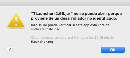 Tlauncher 2.69.jar nie może być otwarty, ponieważ pochodzi od niezidentyfikowanego dewelopera.