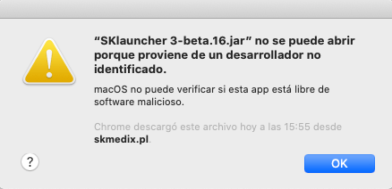 SKLauncher cannot be opened because it comes from an unidentified developer SKmedix.PL