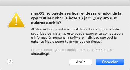 MacOs can not verify the developer of the App SKLauncher 3.0 beta 16 JAR Are you sure you want to open it?