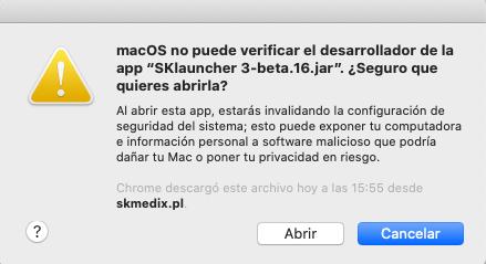 MacOs non può verificare lo sviluppatore di SKLauncher 3.0 beta 16 JAR App. Sei sicuro di volerlo aprire?