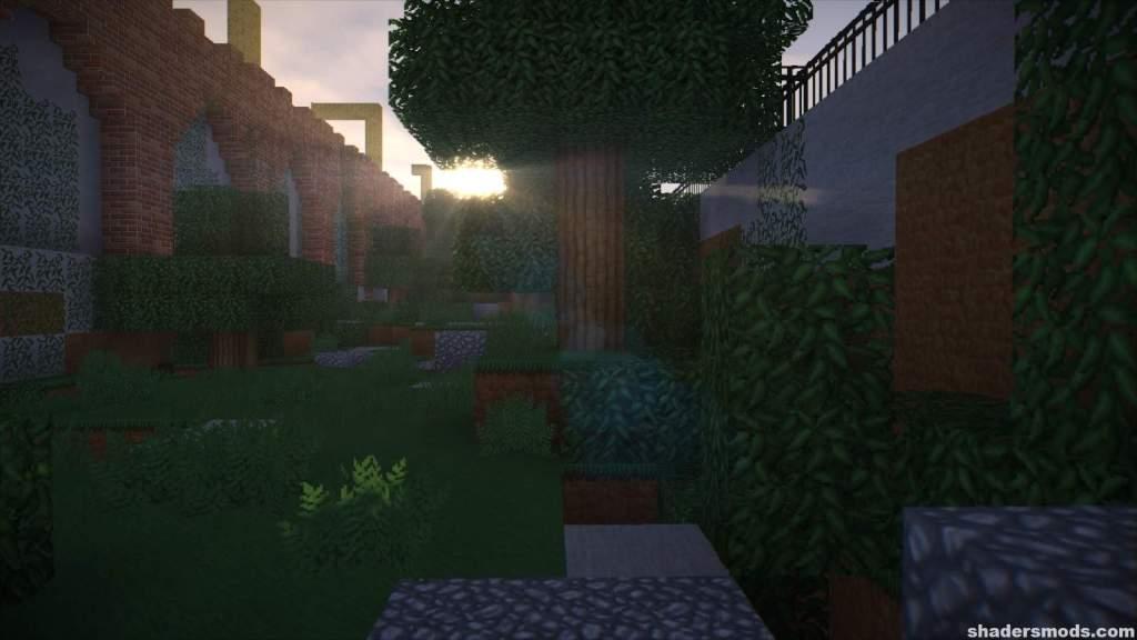 Efecto Kuda Shader en un paisaje de Minecraft